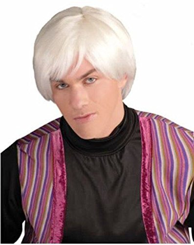 OvedcRay Adult Male Artist Platinum White Wig Mr Pop Movie Star Andy Warhol Costume Wig]()