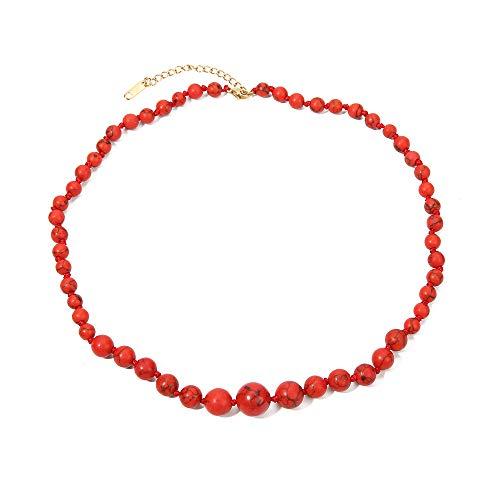 BALIBALI Semi Precious Stone Beaded Choker Necklace 14K Gold Plated Natural Stone Double Strand Necklace Layered Short Necklaces (Short Bead Necklaces)