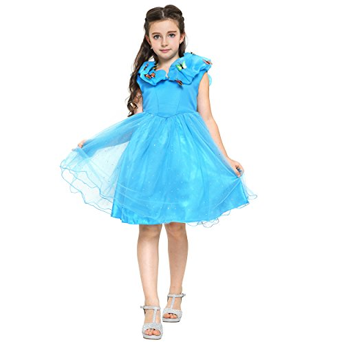 [Fancy Elsa, Cinderella Dresses for girls inspired by Frozen (7-8 years, Blue - Cinderella with] (Blue Fancy Dress Costumes)