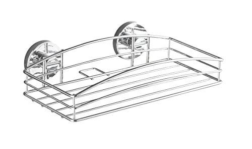 WENKO 20883100 Vacuum-Loc Wandablage - Befestigung ohne bohren, Stahl, 26 x 6.5 x 14 cm, Chrom