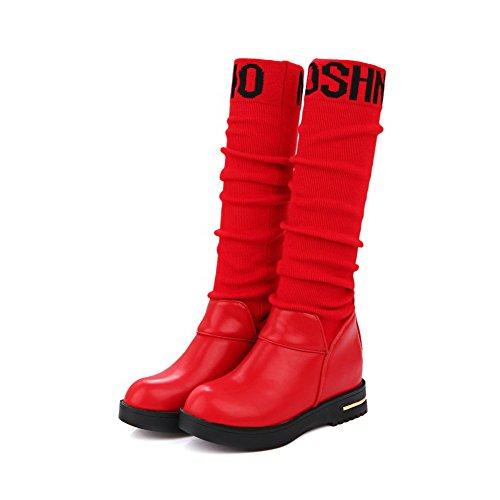 AgooLar Damen Weiches Material Gemischte Farbe Hoch-Spitze Mittler Absatz Stiefel Rot