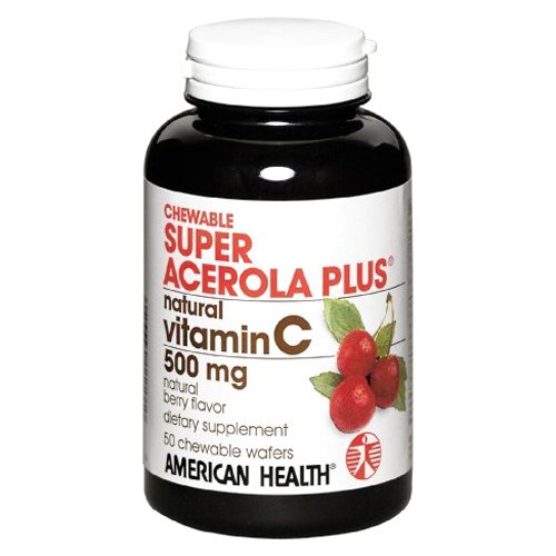 - American Health Super Acerola Plus Chewable Wafers, 500 mg, Berry, 50 Count