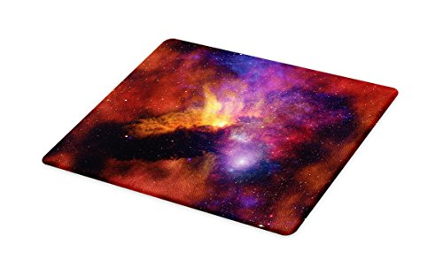 Lunarable Outer Space Cutting Board, Space Stars and Nebula Gas and Dust Cloud Celestial Solar Galaxy System, Decorative Tempered Glass Cutting and Serving Board, Small Size, Purple Red Orange by Lunarable