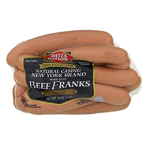 Dietz & Watson Natural Casing New York Beef Franks 16 Oz (4 Pack)