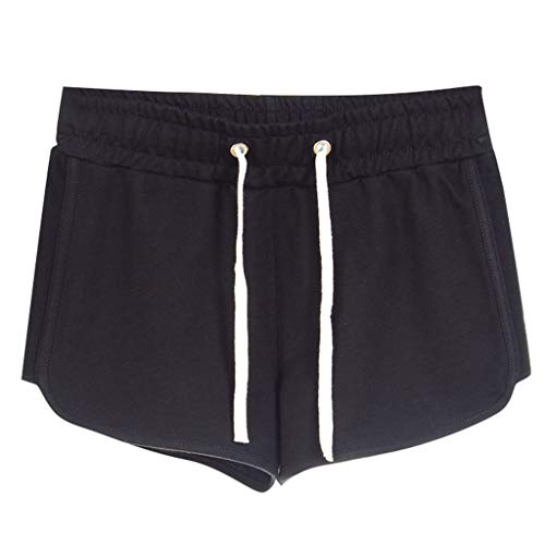 (Home Shorts Women's Summer Cotton Sports Casual Embroidered Shorts Black)