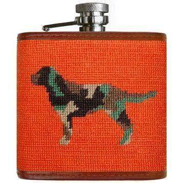 Camo Retriever Needlepoint Flask in Orange by Smathers & Branson