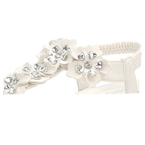 Sandales Plage Les élastiques pour Blanc Confort Tong Fleurs Sandales Été Chaussures Strass Bohème Plates Femmes JRenok t1w4vXnqt
