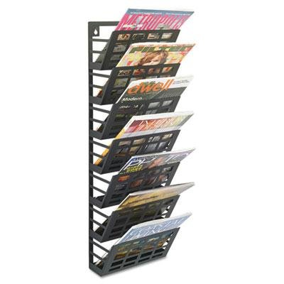 Safco - Grid Magazine Rack Seven Compartments 9-1/2W X 5-1/2D X 29-1/2H Black ''Product Category: Office Furniture/Display Racks & Cases''