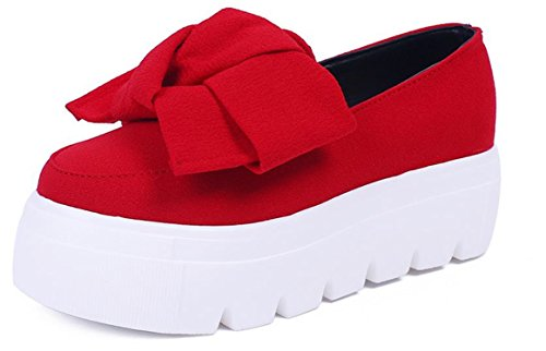 Beststore VAO Women Flat Platform Shoes New Autumn Spring Womens Flats Fashion Bow Lady Flats Loafers Ladies Slip On Platform 5CM Shoes Women Red 5