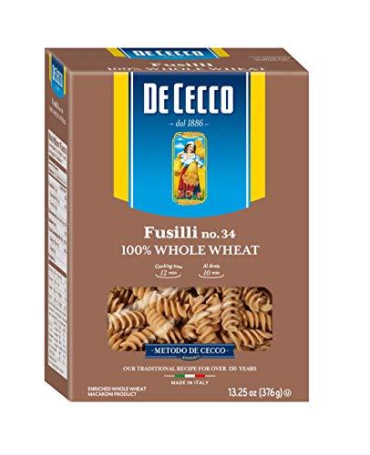 Low Ricotta Fat (De Cecco Whole Wheat Pasta, Fusilli, 13.25 Ounce (Pack of 12))