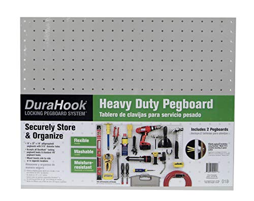 Pegboard Plastic - Triton Products(2) 22 In. W x 18 In. H x 1/8 In. D White Polypropylene Pegboards with 3/16 In. Hole Size