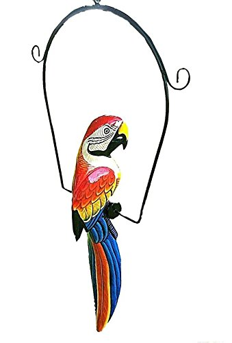 UNIQUE RED 19'' HANDCARVED & PAINTED WOOD HANGING PARROTT W/ METAL PERCH & HOOK!