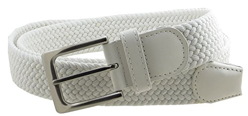 Mens Braided Elastic Stretch Belt Leather Tipped End and Silver Metal Buckle (White-S) ()