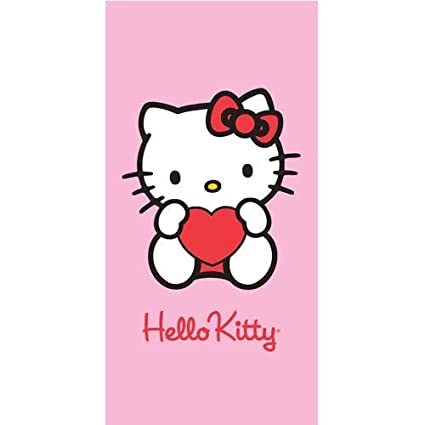 Toalla heart pink Hello Kitty