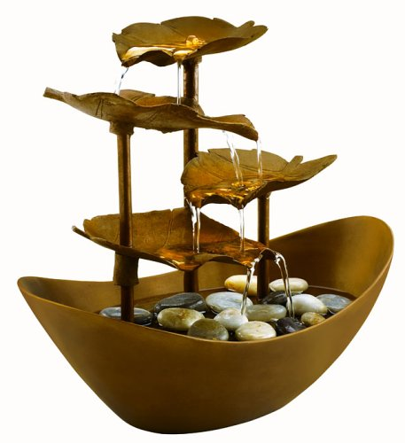 - Homedics Envirascape WFL-GDN Garden Leaves Illuminated Relaxation Fountain, Copper