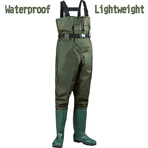 PLUSINNO Chest Waders, 2-Ply Nylon PVC Waterproof Cleated Fishing Hunting Bootfoot Wader for Men and Women
