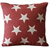 Set of 3 Patriotic American Flag Theme Pattern Decorative Pillow Covers Linen Outdoor Cushions 45CMx45CM Throw Pillow Covers