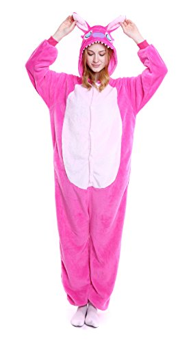 Dingwangyang Uinisex Adult Pajamas Onesie Kigurumi Cosplay Costumes Animal Jumpsuit Hot Pink Stitch-M