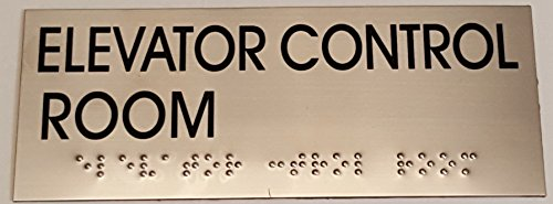 (ELEVATOR CONTROL ROOM SIGN - BRAILLE-STAINLESS STEEL ( Heavy Duty-Commercial Use ))
