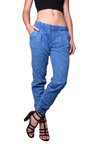 Fantastic Shop Mango Blue Denim Joggers 63047015 For Women In UAE
