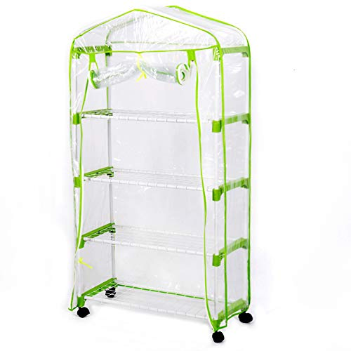 Sundale Outdoor Portable Gardening 4 Tier 4 Shelf Steeple Green House with PVC Cover, Zipper Door and Wheels, Waterproof Hot Green House, Insect Prevention, 26.9
