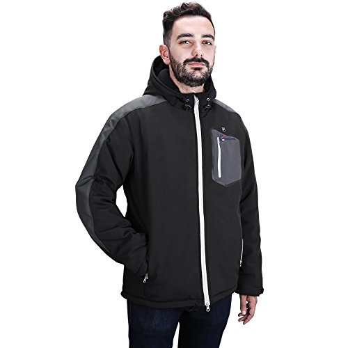 OUTCOOL Men's Soft Shell Heated Jacket Kit With Hood Waterproof Windproof Winter Jacket(XL) by OUTCOOL (Image #1)