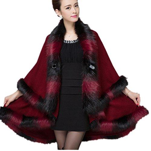 - Shawl Women Wraps Fur Cloak Coat Ladies Faux Fox Fur Double Mixed Color Dyed Knit Cardigan Jacket
