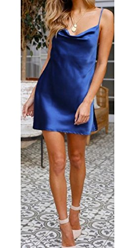 Casual Sexy Neck Women Hollowed Back Blue Dark Solid Coolred V Strap Dresses BS7wnZqa