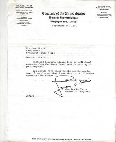 Charles Vanik Signed August 1976 Typed Letter Ohio B College Cut Signatures