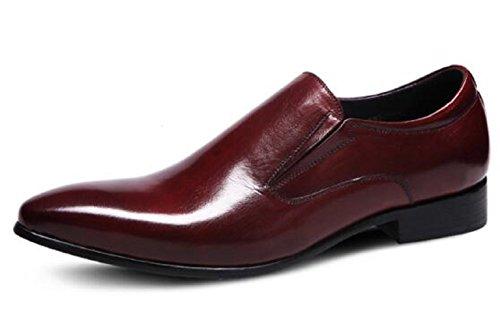 Happyshop (tm) Britisk Stil Menns Skinn Skoen Oxfords Derbies Slip-on Sko Bryllup Sko Vinrød