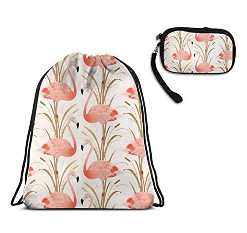 Gym School Drawstring Bag Tote Cinch Sack - Pink Flamingo Clipart Style Drawstring Rucksack, Large Size Lightweight Water Resistant Shoulder Backpack + Travel Purse Wristlet ()