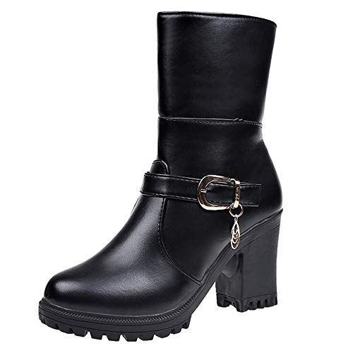 AgrinTol Women Leather Round Toe High Heel Shoes Fold Booties Keep Warm Cotton Boots - Gucci High Heel Shoes