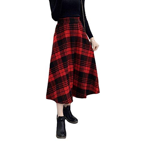 Romacci Women's Elastic High Waisted Woolen Plaid Skirt Winter Fall A-Line Skirts
