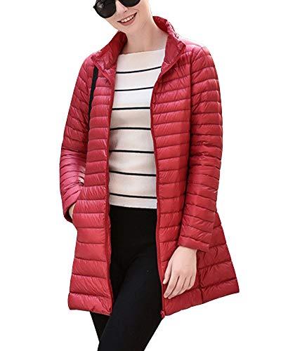 Ultralight Warm Packable Coat Jacket Women's Outwear GladiolusA Long Red Winter EwtIqB