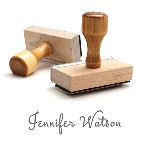 Personal Signature Stamp, Personalized. Wooden Handle Traditional Rubber Stamper. Excellent For Bank Deposits Or Labelling Name.