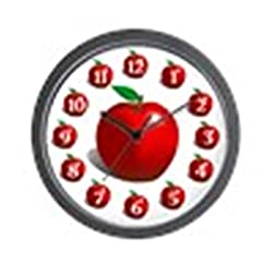 CafePress Red Apple Fruit Pattern Unique Decorative 10 Wall Clock