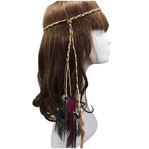 Feather Headband Hippie Indian Boho Hair Bands Tassel Bohemian Halloween Hair Hoop Women Girls Crown Hairband Party Decoration Headdress Cosplay Costume Headwear Headpiece Hair Accessories Peacock -