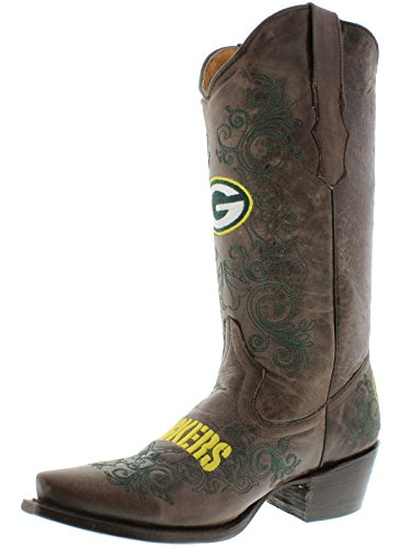 Womens Greenbay Packers Nfl Collection Stivali Da Cowboy In Pelle Marrone Snip Toe Brown