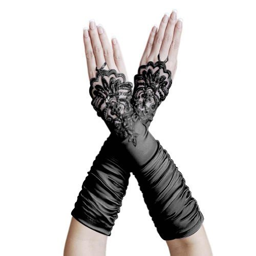 (ZaZa Bridal Gathered Satin Fingerless Gloves w/Floral Embroidery Lace &)