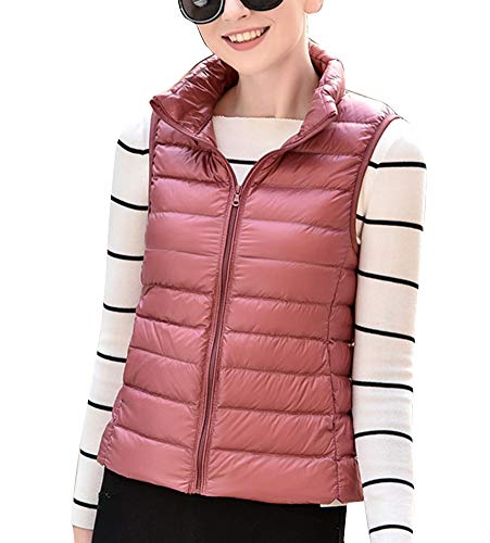 Rubber Lightweight Vest Jacket Puffer GladiolusA Quilted Sleeveless Pink Women's Gilet Coat Packable q1nRWav