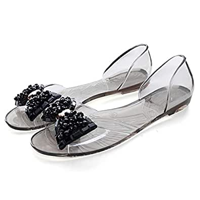 Dear Time Summer Women Jelly Sandal Shoes Slip On Bowtie Slippers Black US 5.5