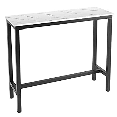 """Mr IRONSTONE Bar Table 47"""" Pub Dining Height Table Bistro Table with with Faux Marble Top (Indoor USE ONLY)"""