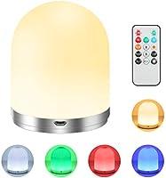 Veilleuse, lampe de chevet pour enfants avec télécommande, rechargeable par USB avec fonction minuterie, blanc chaud à...