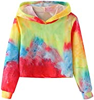 Wrodduy Girls Kids Crop Tops Crewneck Hoodies Cute Tie Dye Long Sleeve Fashion Hoody Sweatshirts Fall Winter S