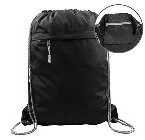 Drawstring Bag Backpack for Women & Men, Black Cinch String Gym Sack Pack with Pockets Team Zipper