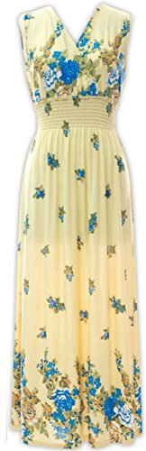 Bleu Nero Maxi Dresses Large Unique Selection  Smocked Waist V Neck Printed Floral Long Dresses Ankle Length Summer Dresses Regular and Plus Sizes (1X Plus, Rose Floral Dress - Cream)
