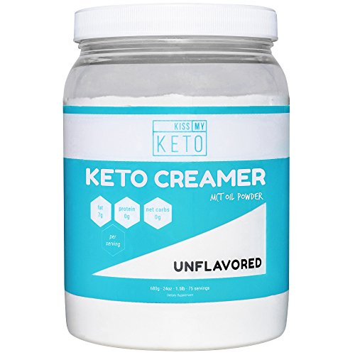 Kiss My Keto MCT Oil Powder C8 - Keto Creamer, 75 Servings, ZERO Net Carbs, Ketogenic Friendly Coffee Creamer, Easy To Mix, Absorb, Digest, Get Into Ketosis, Medium Chain Triglyceride Supplement Power Carb Drink Mix