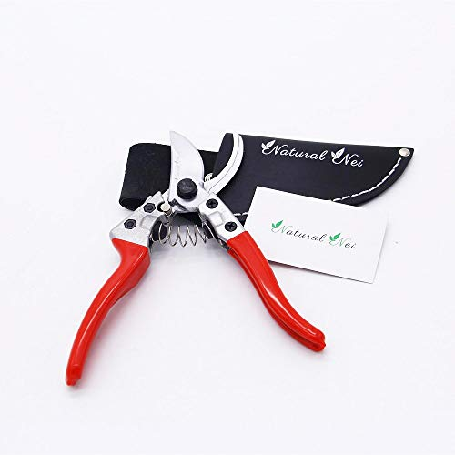 NaturalNei Pruning Garden Scissors Shears In A Leather Case | Ergonomic Grip, Durable Spring Tech, Razor Sharp Blades & Lightweight Body | For Cutting Twigs, Trimming Plants, Weeding, Flowers & Stems