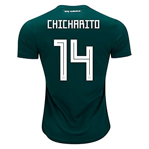 National 2018 Team World Soccer Cup Mexico Chicharito 14 Home Stadium Mens Jersey Size (Mexico Home Jersey Shirt)
