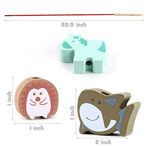 LOVESTOWN Wooden Lacing Beads, 67 PCS Stringing Beads Large Lacing Bead Animals Stringing Toy Montessori Toddler Preschool Toys for Toddlers Kid Birthday Gifts
